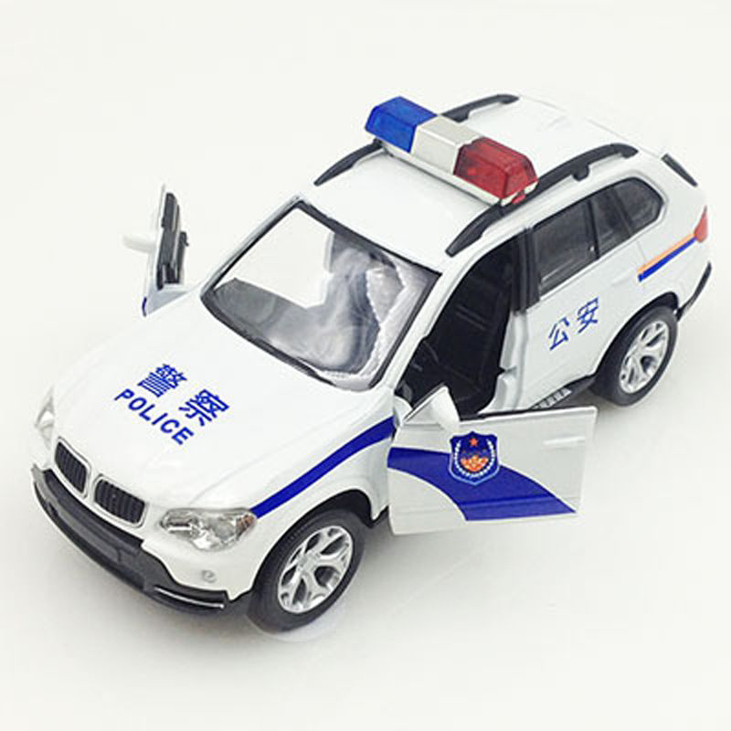 Alloy BMW X6 Police Car Children Car Model Toy Wiht Light And Music
